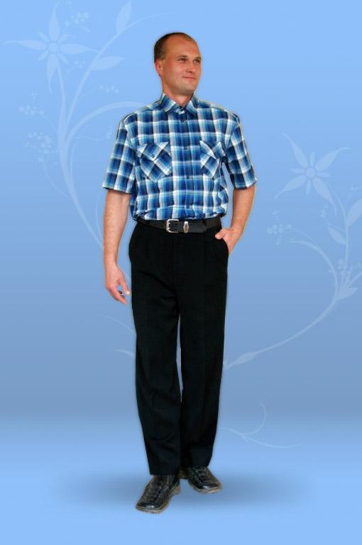 Сорочка мужская из шотландки, с коротким рукавом