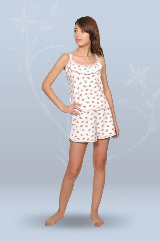 Пижама ночная женская с шортами на тонких бретелях, с оборкой (кулирка, гипер)