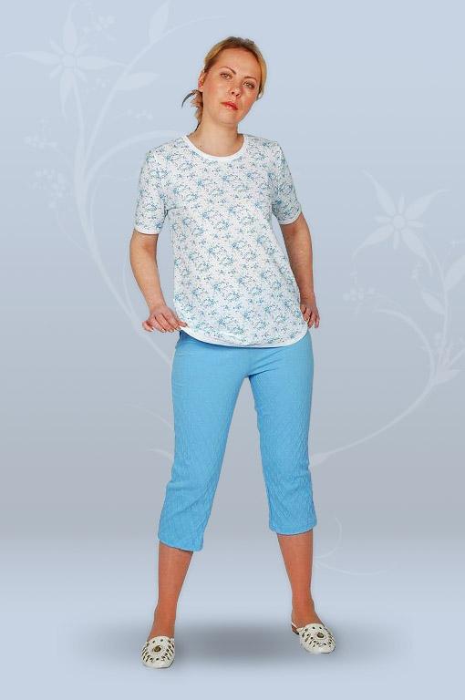 Пижама ночная женская с бриджами, с коротким рукавом, простая (гипер)