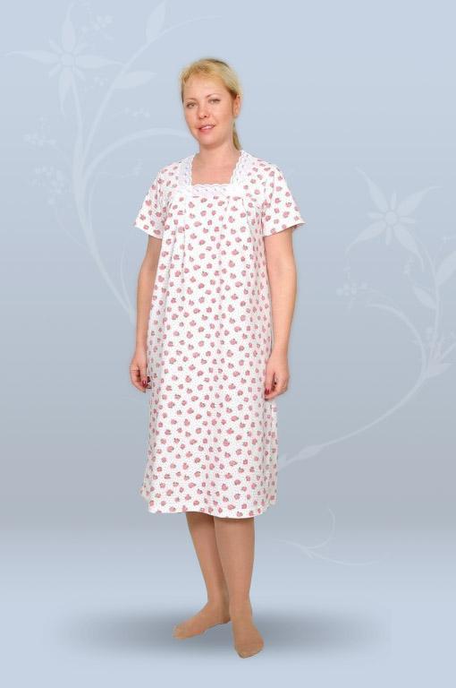 Сорочка ночная женская с коротким рукавом, с квадратной кокеткой (кулирка, гипер)