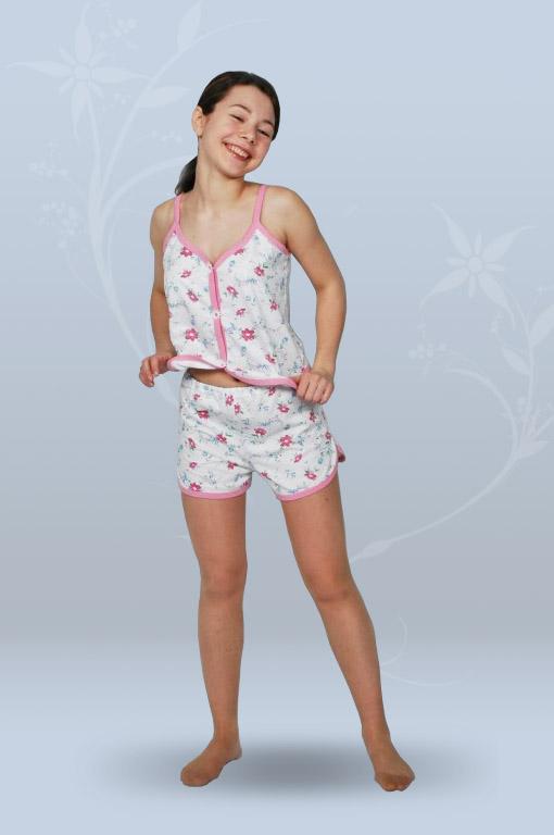 Пижама ночная женская с шортами на тонких бретелях, разрезная (кулирка, гипер)