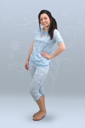 Пижама ночная женская с бриджами, с коротким рукавом, с петлёй (кулирка)