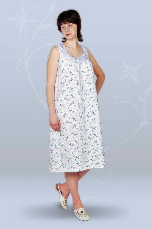Сорочка ночная женская без рукава, с кружевом (кулирка, гипер)