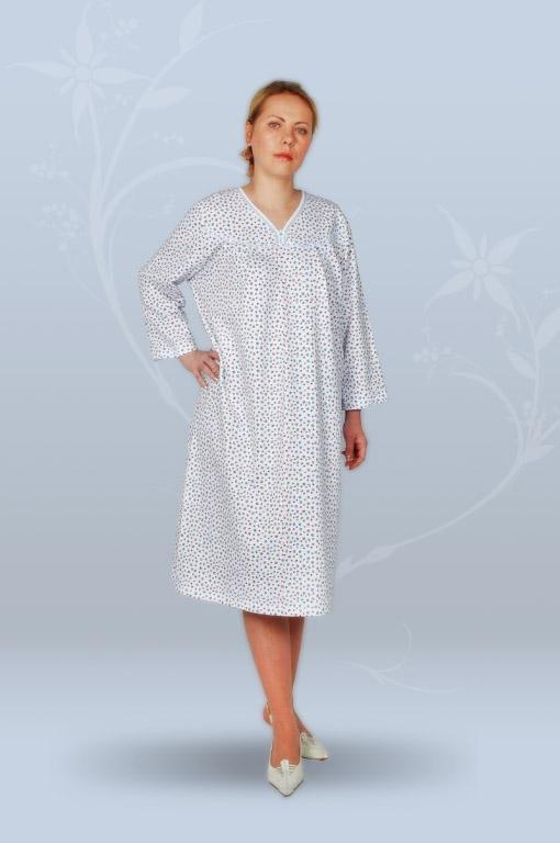Сорочка ночная женская с длинным рукавом, с вырезом (футер)