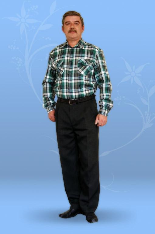 Сорочка мужская из шотландки, с длинным рукавом
