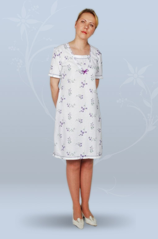 Сорочка ночная женская с коротким рукавом, со вставкой (кулирка, гипер)
