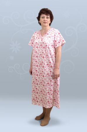 Сорочка ночная женская с коротким рукавом, с накладной кокеткой (кулирка,гипер)