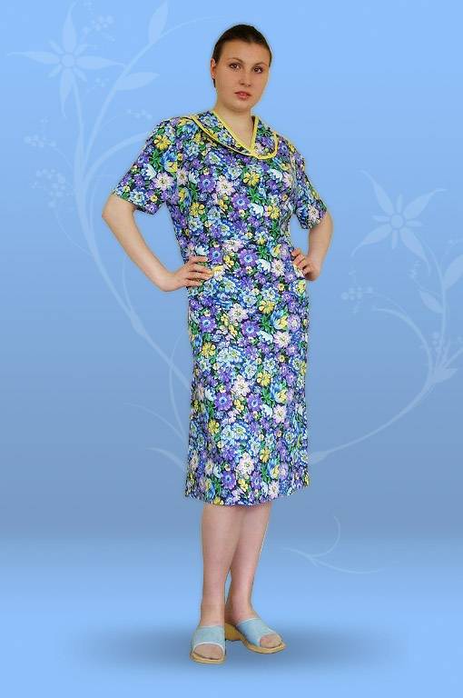 Платье с отрезной кокеткой (ситец, бязь)