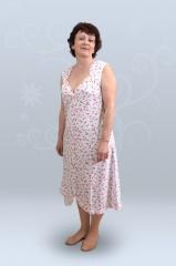 Сорочкая ночная женская без рукава, с круглой кокеткой (кулирка,гипер)