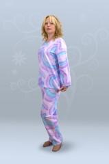 Пижама ночная женская с брюками, с длинным рукавом, простая (футер)