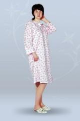 Сорочка ночная женская с длинным рукавом, с завязками (футер)