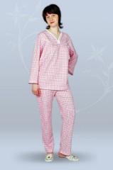 Пижама ночная женская с брюками, с длинным рукавом, с вырезом (футер)