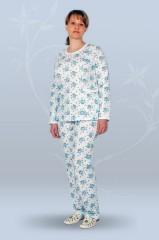 Пижама ночная женская с брюками, с длинным рукавом, рельефная (футер)