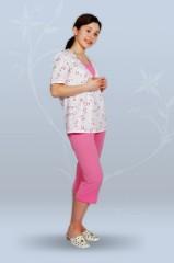 Пижама ночная женская с бриджами, с коротким рукавом, со вставкой (гипер)